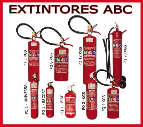 Extintores - BC, ABC, água, pó químico e CO2